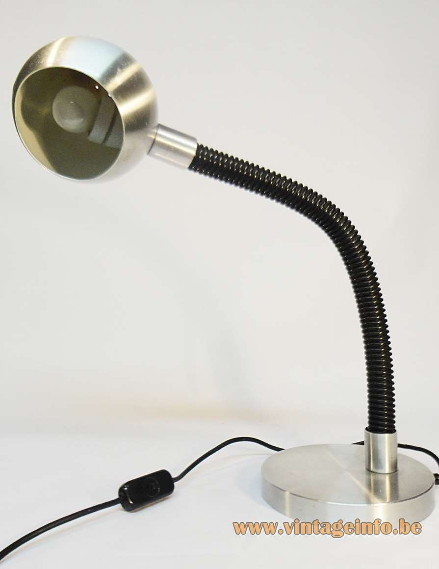 Raak Serpent desk lamp round aluminium base eyeball globe black hose gooseneck E27 socket 1960s 1970s