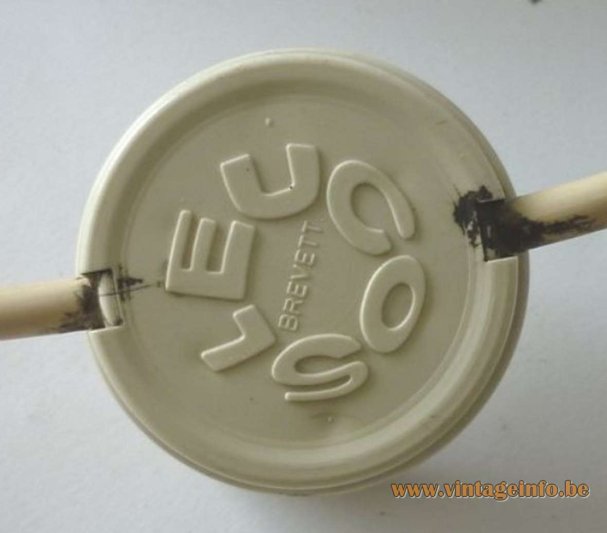 Renato Toso Nefele table lamp round white Bakelite switch pressed Leucos logo label Italy 1960s 1970s