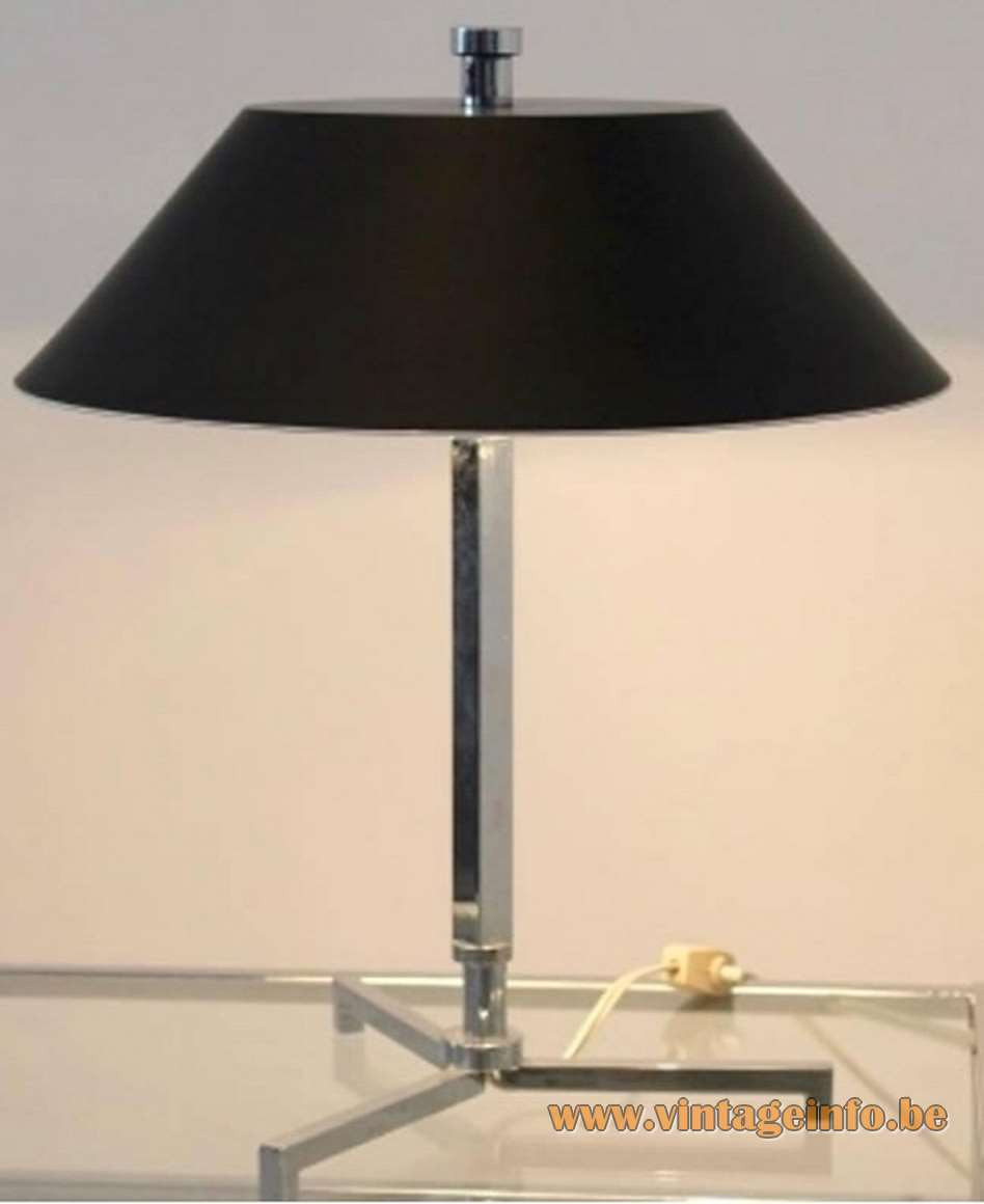 1960s Senior Style Desk Lamp - chrome black acrylic lampshade