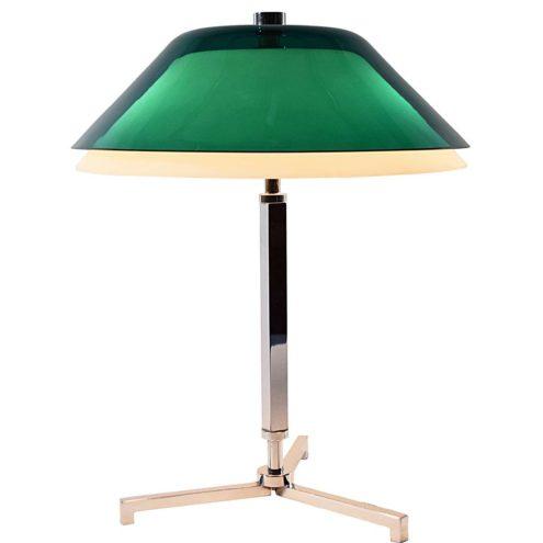 1960s Senior style desk lamp chrome tripod base green opal acrylic Perspex lampshade Jo Hammerborg president