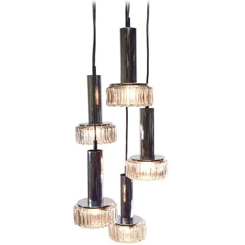 Staff bubble glass pendant chandelier cascading round smoked embossed glass lampshades chrome tubes 1960s 1970s Germany