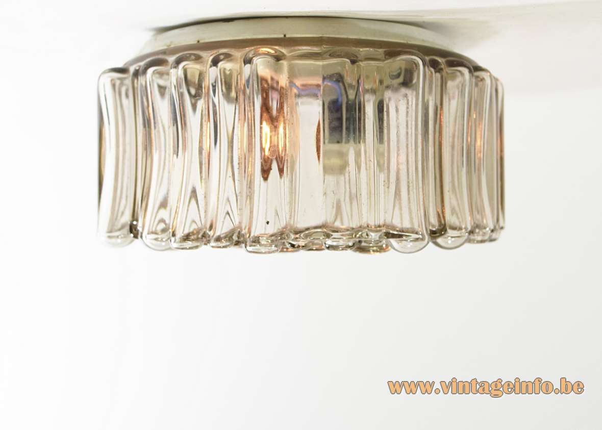 Staff Bubble Glass Flush Mount Or Wall Lamp round smoked embossed glass 1960s 1970s MCM