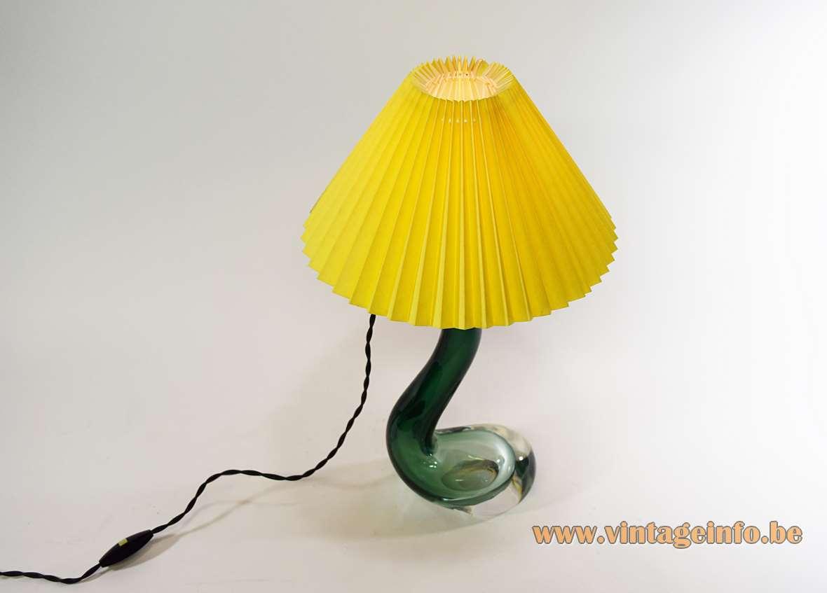 Val Saint Lambert swan table lamp in biomorph green and clear glass 1950s 1960s VSL Belgium