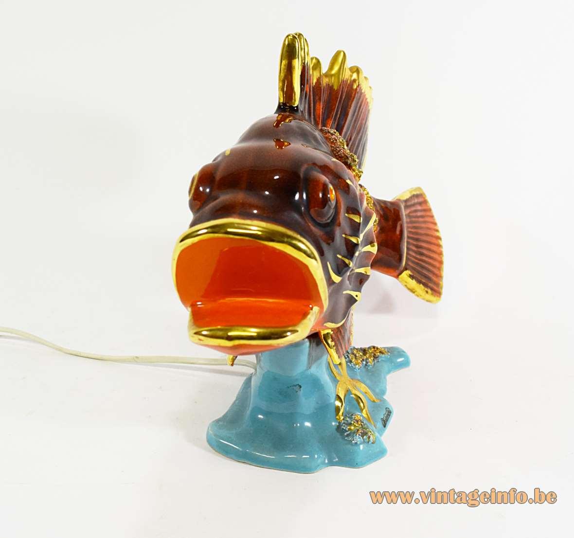 Vallauris Ceramic Fish Table Lamp tourist souvenir kitsch starfish shellfish 1950s 1960s France MCM
