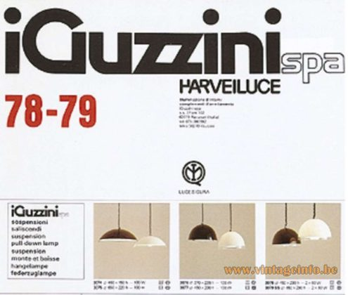 iGuzzini Baobab Pendant Lamps, Catalogue Picture, Produced from 1978 until 1982