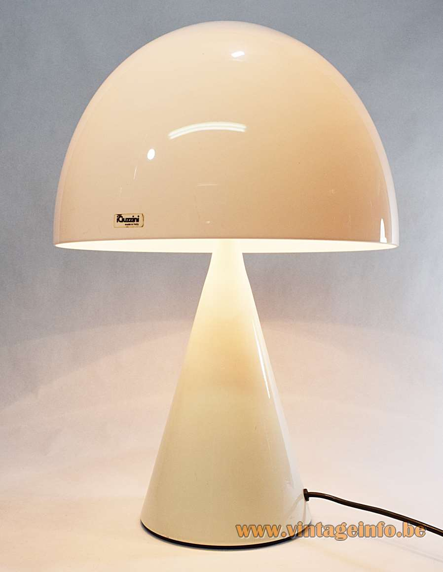 iGuzzini table lamp Baobab Harvey Guzzini white acrylic mushroom lampshade conical white metal base 1970s MCM Mid-Century Modern