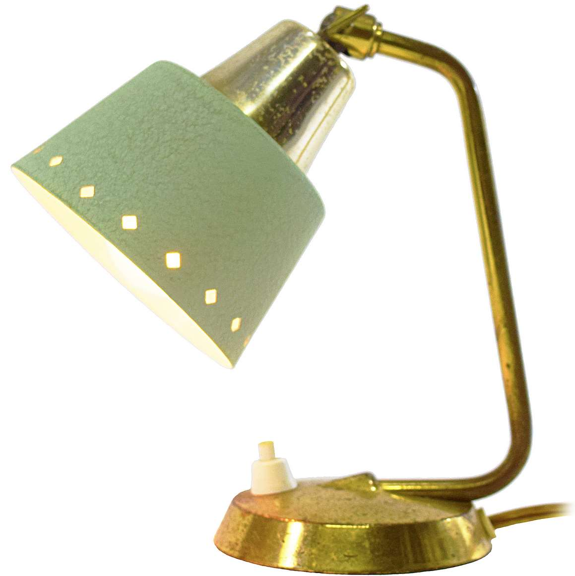 1950s perforated bedside lamp brass base & rod lampshade with diamond holes ERPEES Pfäffle Leuchten 1960s Germany