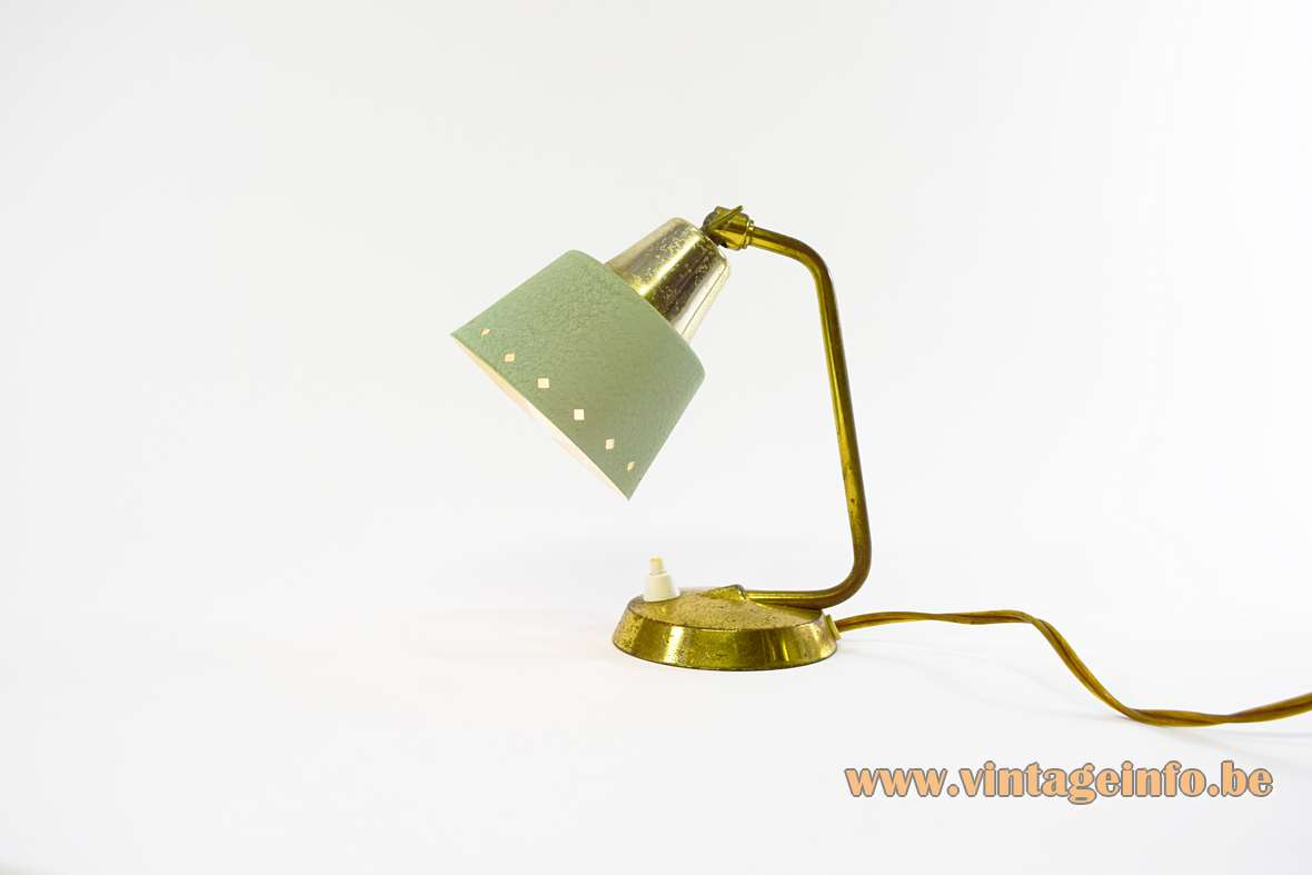 1950s Perforated Bedside Lamp diamond square holes mint green wrinkle paint round base brass rod 1950s 1960s