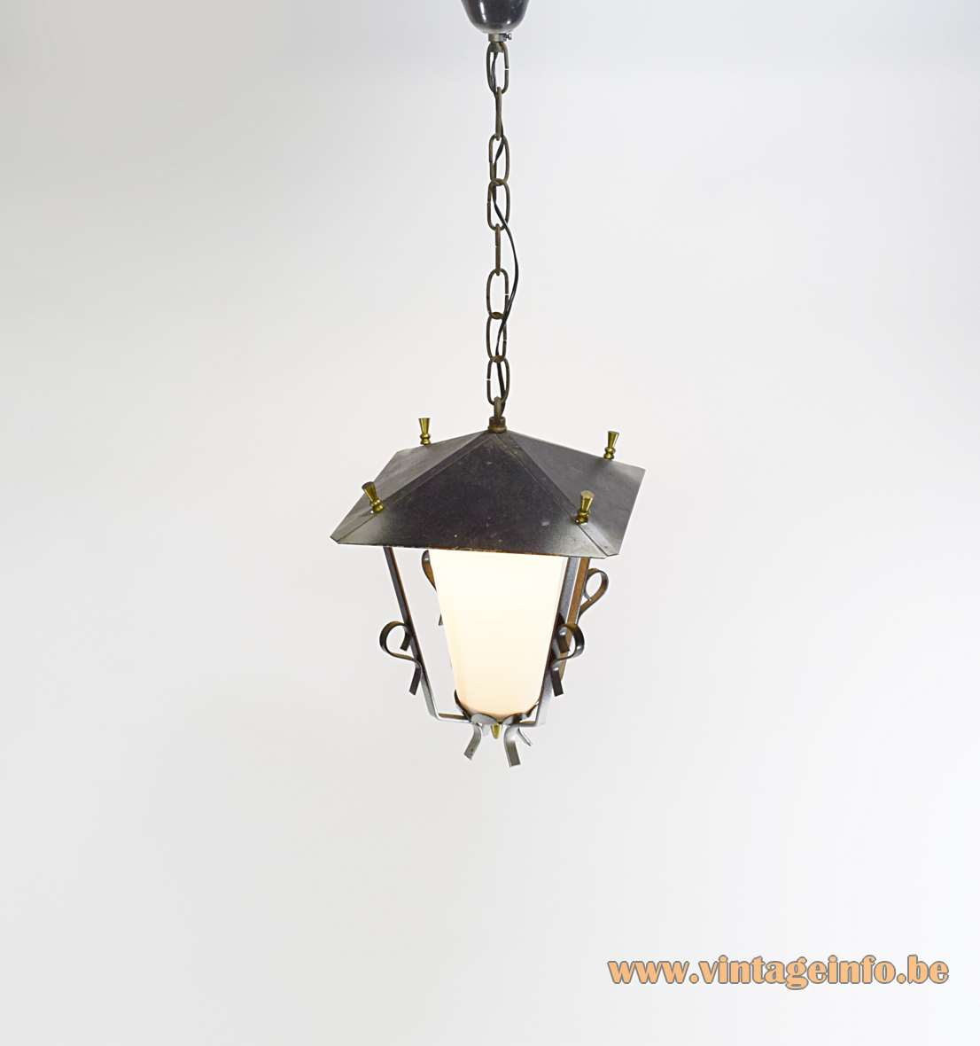 1950s lantern pendant lamp in square forged iron white opal glass and brass perforated decoration Massive