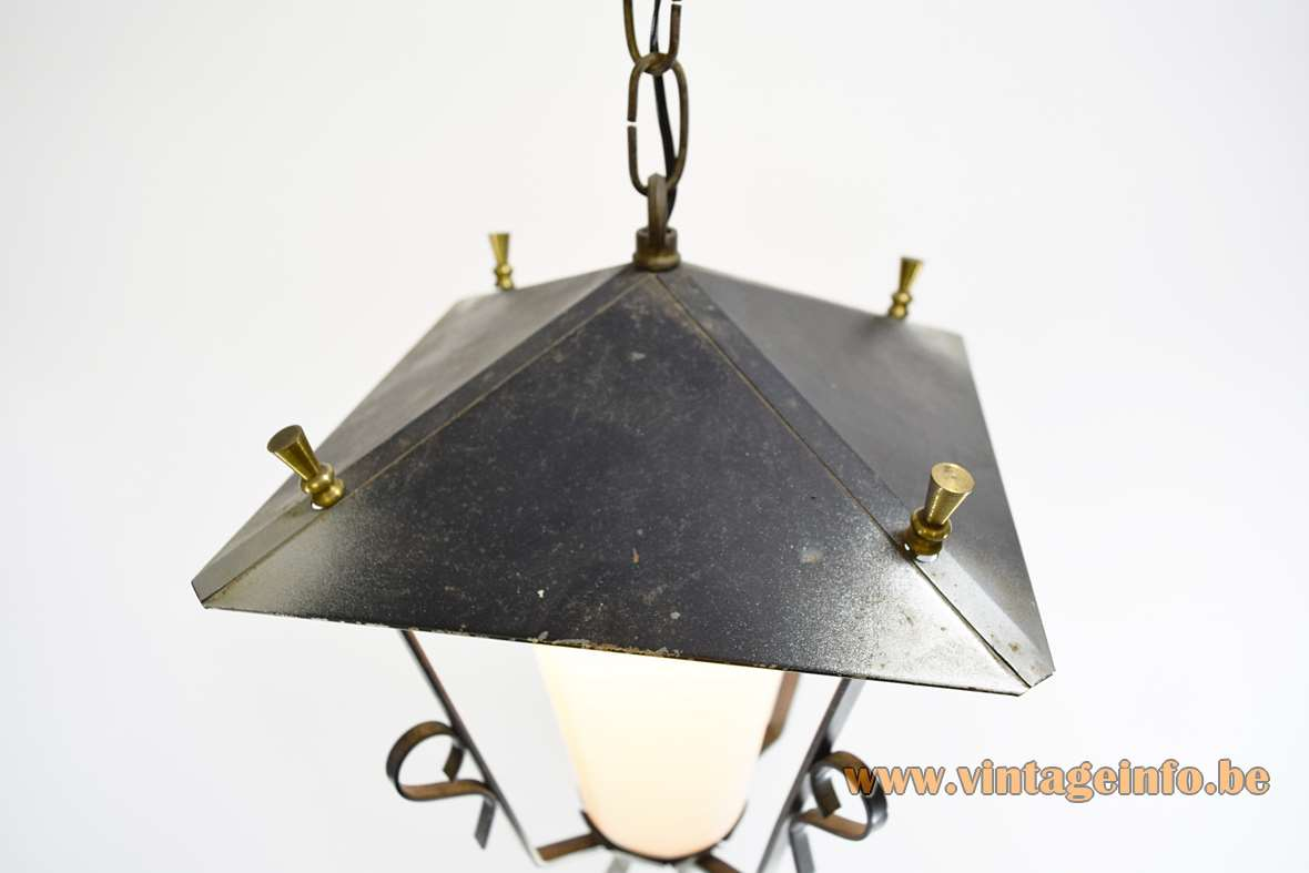 1950s Lantern Pendant Lamp square model forged iron opal white glass brass perforated decoration Massive Belgium