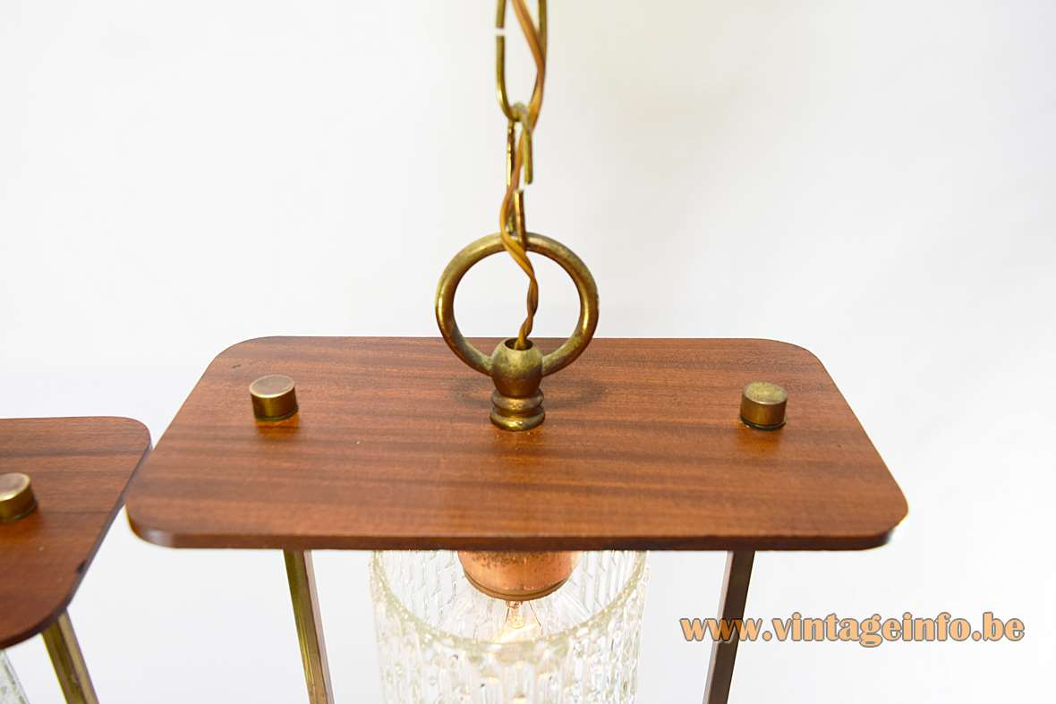 1950s Pendant Lamps copper wood pressed glass chain 1960s Massive Belgium