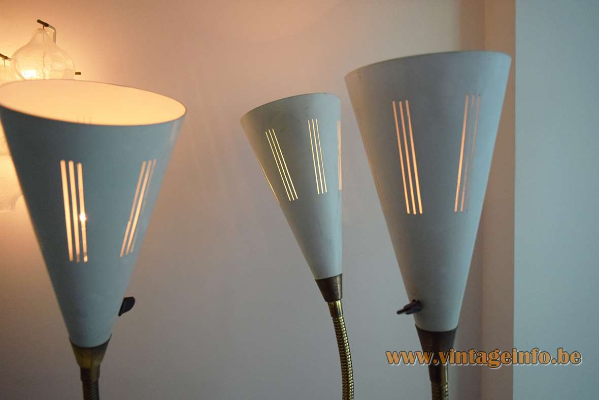 1950s Perforated Trumpet Floor Lamp 3 arms blue brass gooseneck conical lampshades 1960s MCM