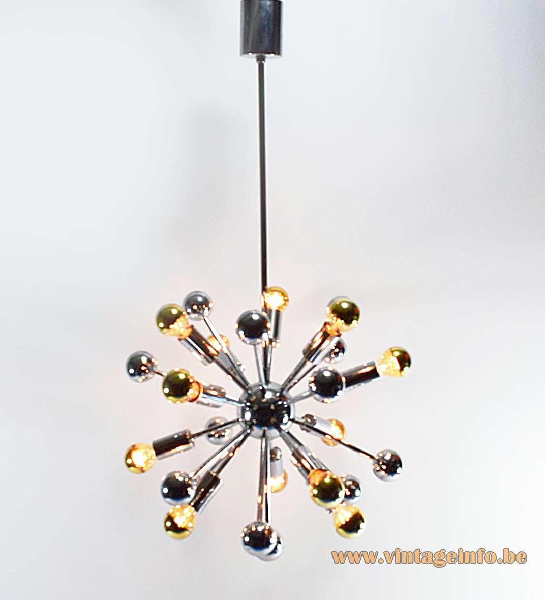 1960s Chrome Sputnik Chandelier 12 silver-capped light bulbs Boulanger Belgium MCM 1970s