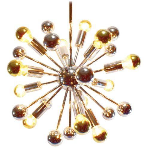 1960s chrome Sputnik chandelier long rods globe & balls 12 silver tipped bulbs Boulanger Belgium 1970s
