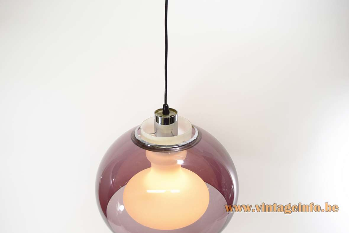 1970s opal & purple pendant lamp in white glass and a perspex acrylic lampshade Massive 1960s
