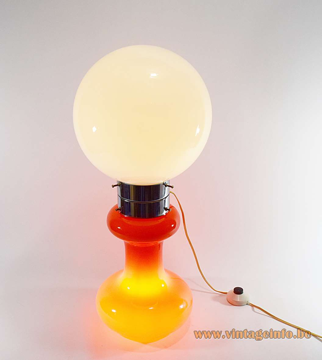 AV Mazzega Table Floor Lamp orange base white glass globe chrome ring 1960s 1970s Murano MCM