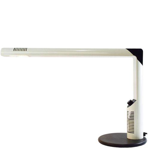 LUCI Abele desk lamp design: Gianfranco Frattini white metal tubes black plastic dimmer halogen 1970s Italy