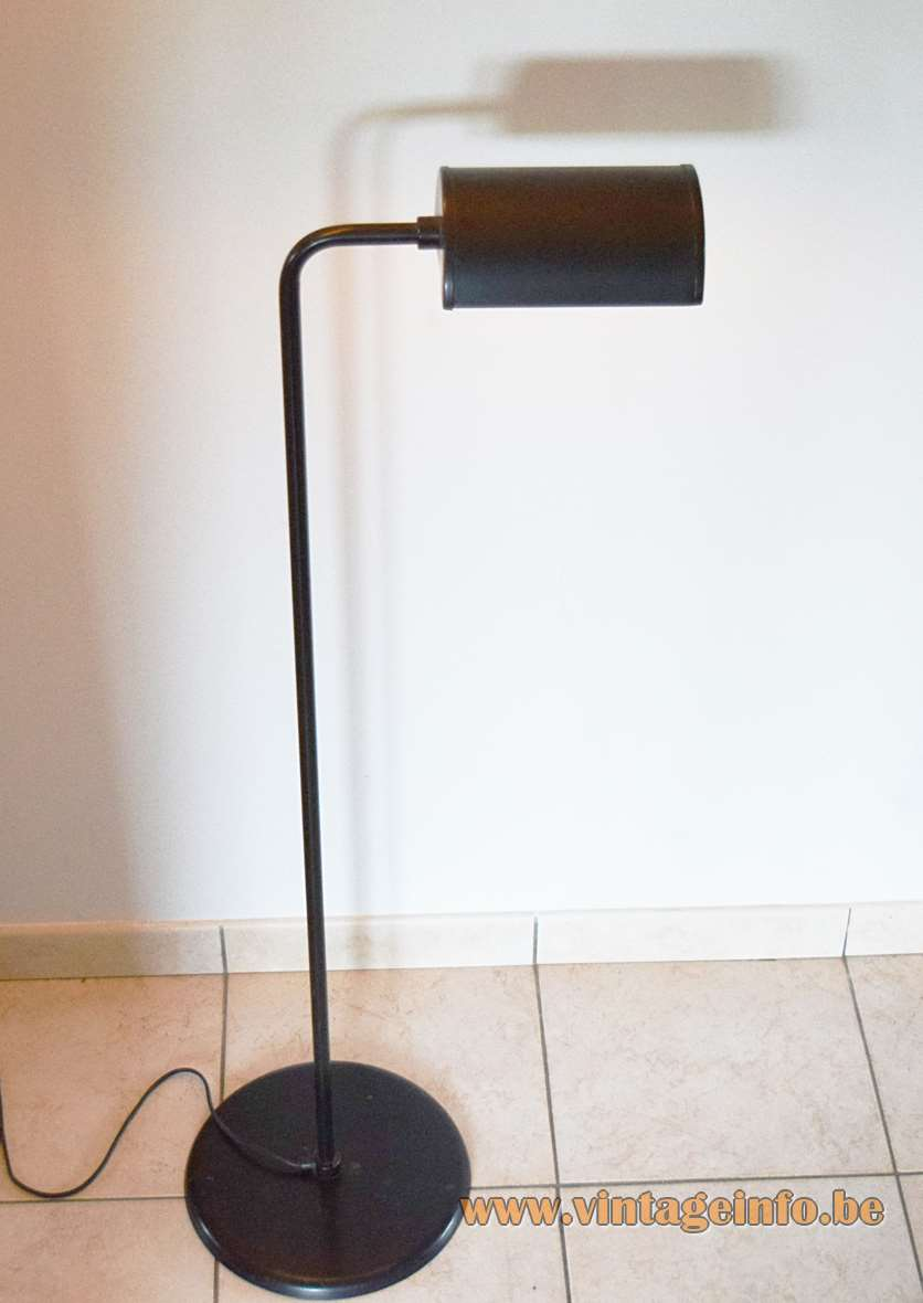 Abo Randers Metal Floor Lamp round base brass folded rod half round lampshade IKEA 1970s MCM