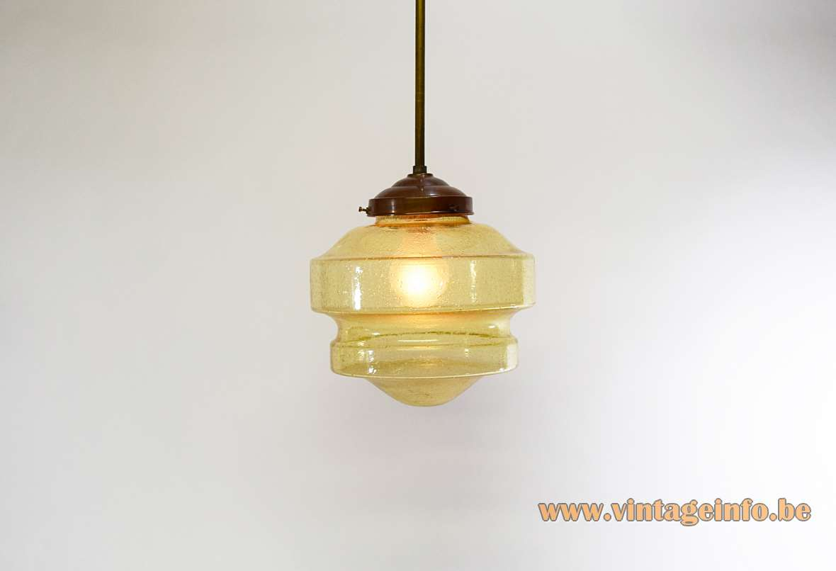 Art deco pendant lamp amber bubble glass brass 1920s 1930s Bauhaus round glass globe interwar period E27 socket