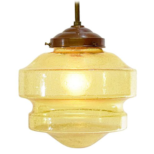 Art deco pendant lamp amber bubble glass brass 1920s 1930s Bauhaus round glass globe interwar period E27 socket