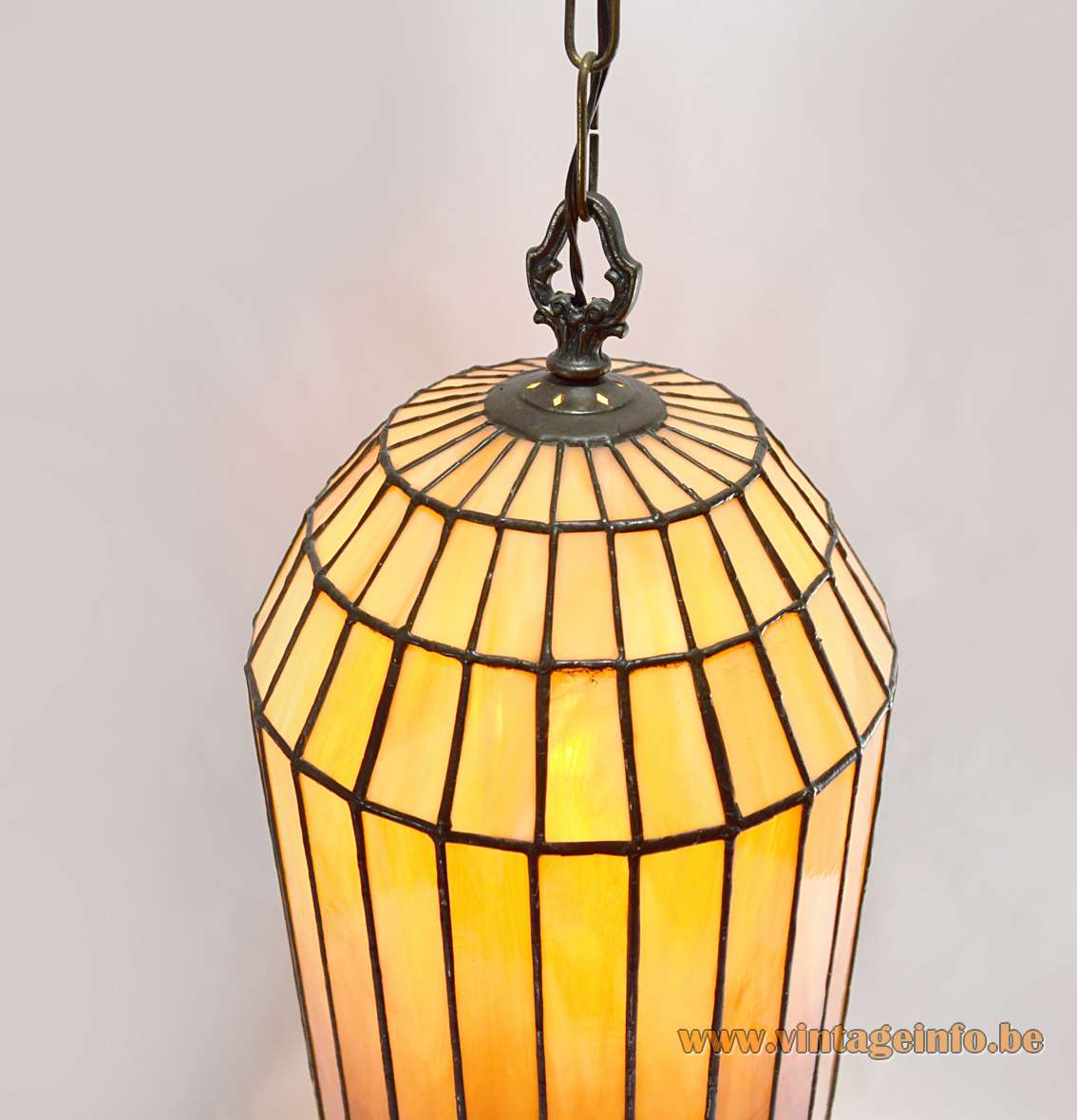 Art Deco Stained Glass Pendant Lamp cut orange tongues flamed 1920s 1930s 1940s
