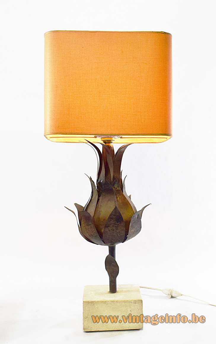Brass artichoke table lamp with a square sandstone base and hammered brass leaves B22 socket France
