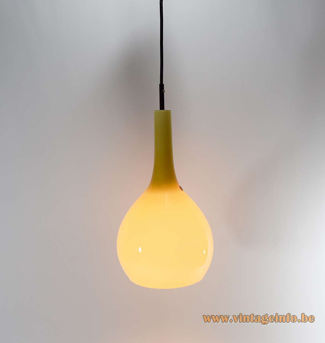 Base Italy Crystal Glass Pendant Lamp Murano 1960s 1970s yellow vanilla incamiciato MCM