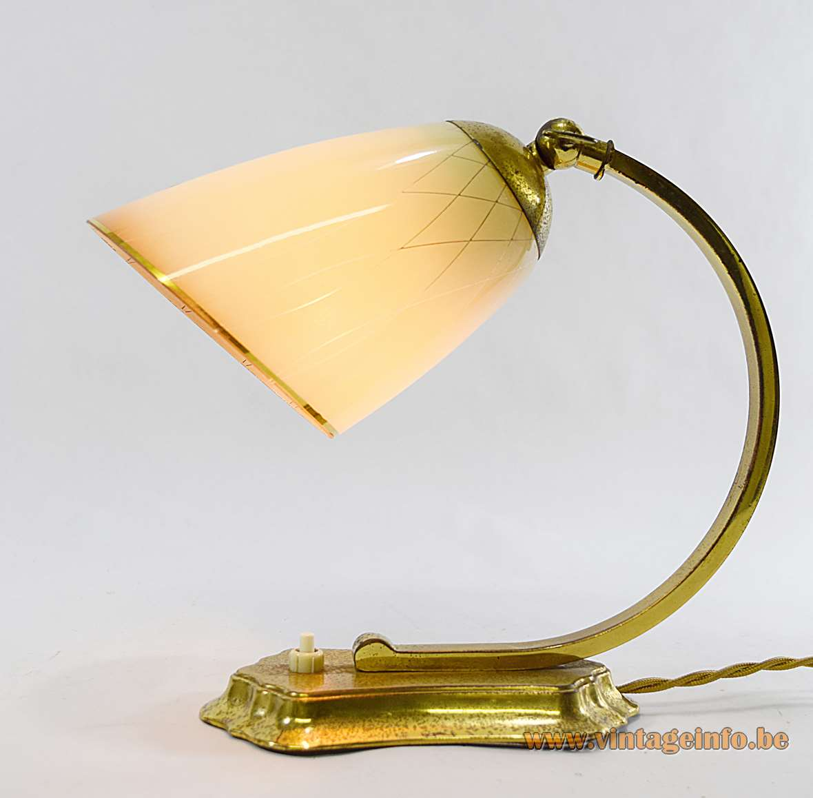 Lacroix wall or table lamp in brass plated metal and striped glass from the 1940s 1950s