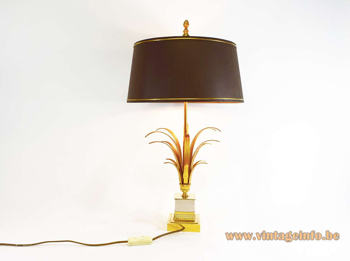 S.A. Boulanger Brass & Chrome Reed Table Lamp Maison Charles Vase Roseaux square decorated base palm leaves