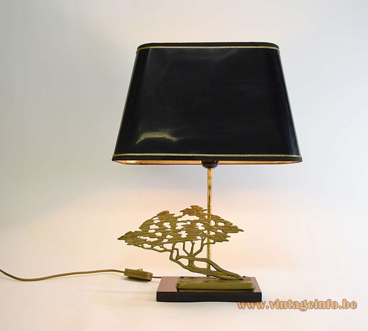 Bonsai table lamp brass bronze black wood Willy Daro Massive Hollywood Regency 1970s 1980s MCM