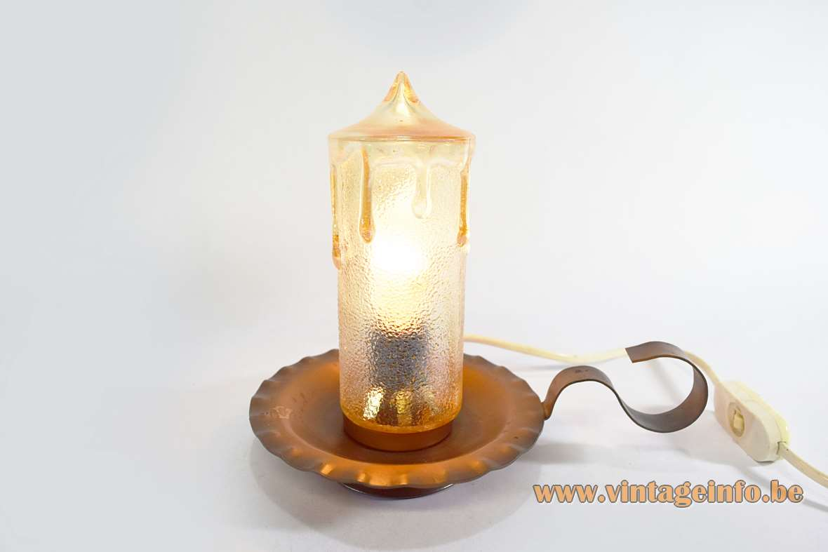 Copper candle bedside lamp dripping faux yellowish glass table lamp from the 1970s E14 socket