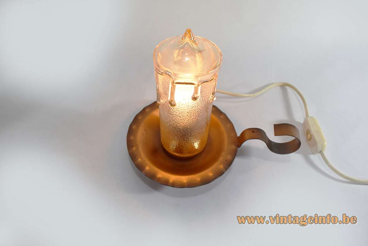 Copper Candle Bedside Lamp dripping faux yellowish embossed glass 1950s 1960s MCM