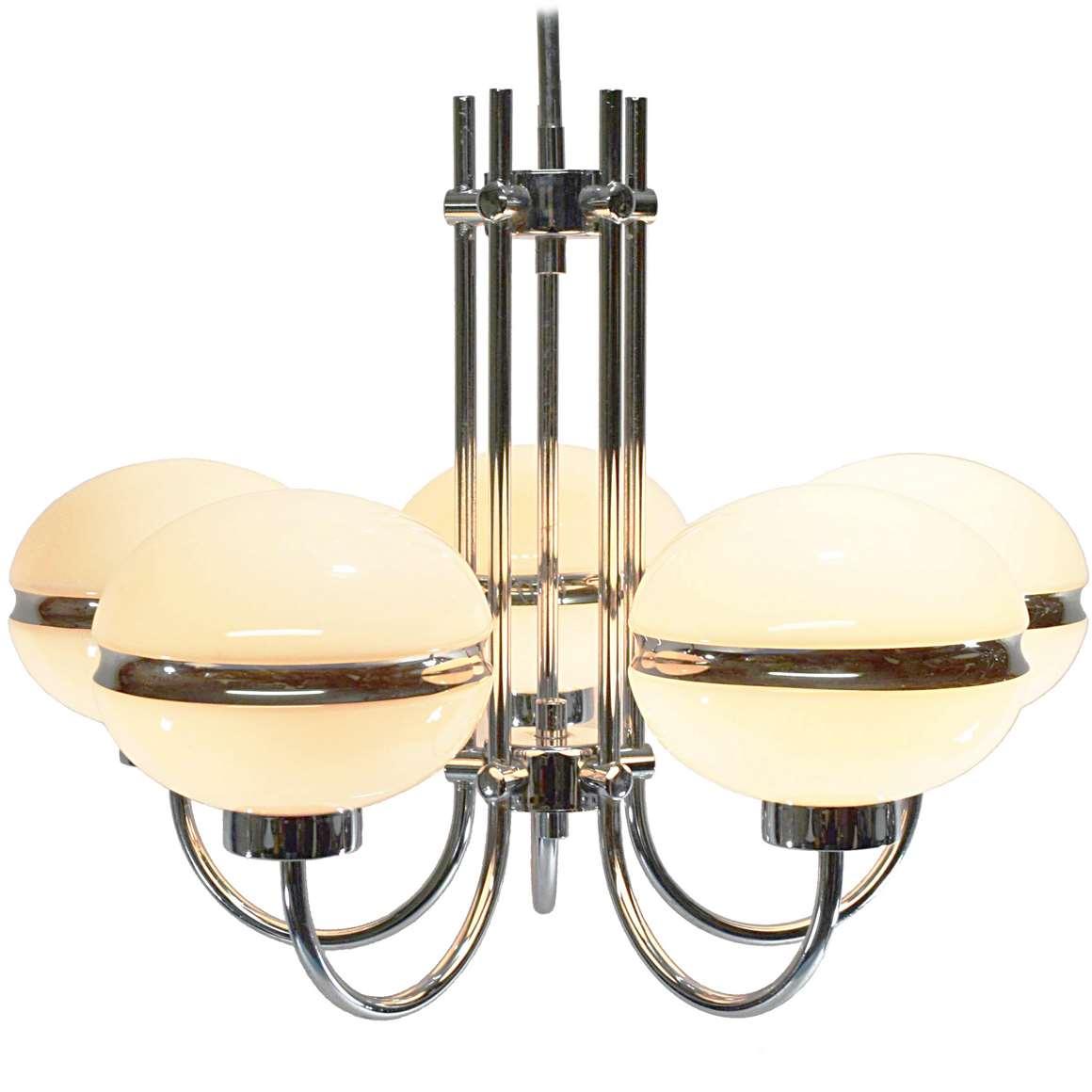 Chromed Glass Globes Chandelier