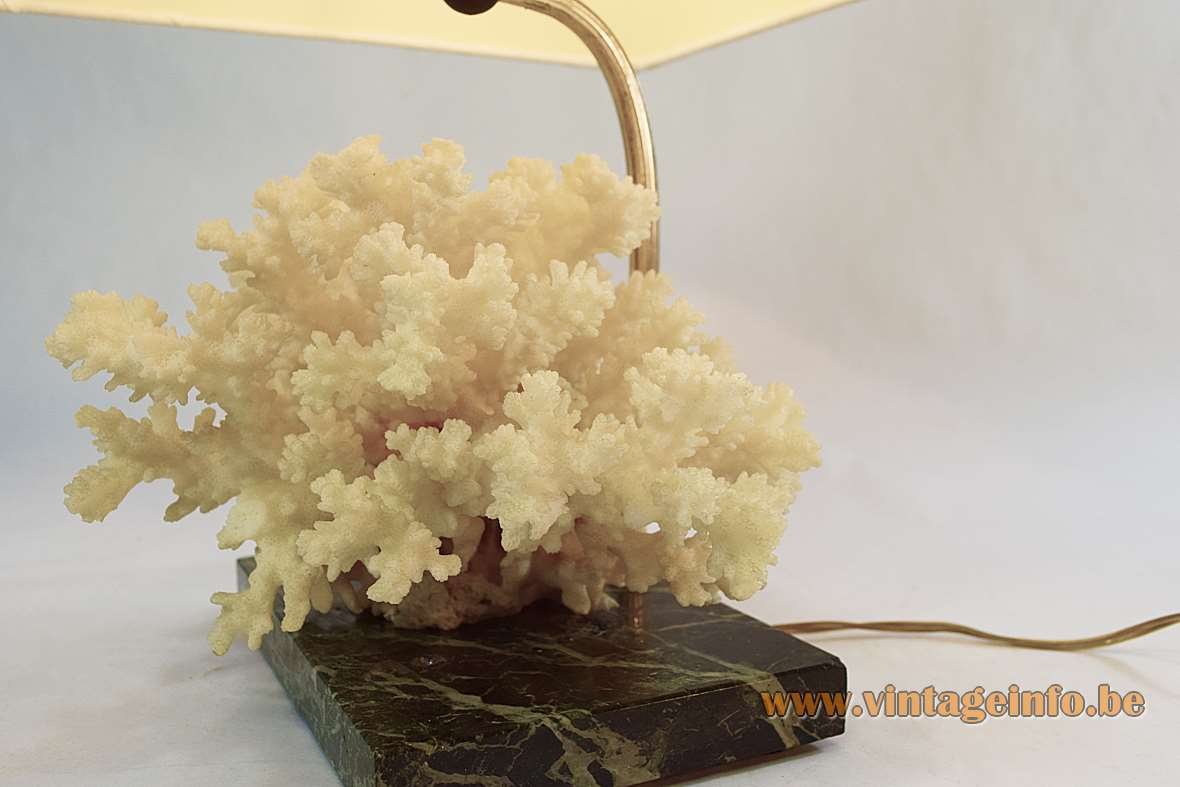 Cauliflower coral table lamp with a green marble base metal rod conical lampshade 1970s E27 socket