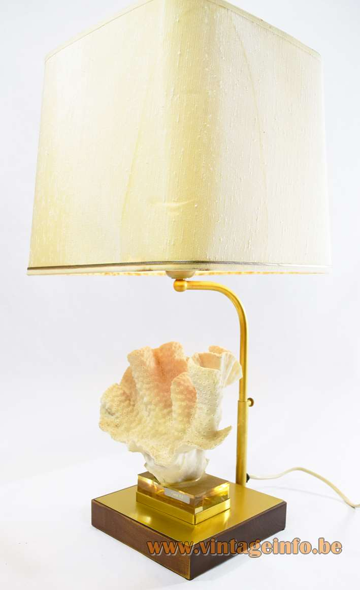 Antler coral table lamp rectangular wood brass base brass rod fabric lampshade Willy Daro 1970s vintage