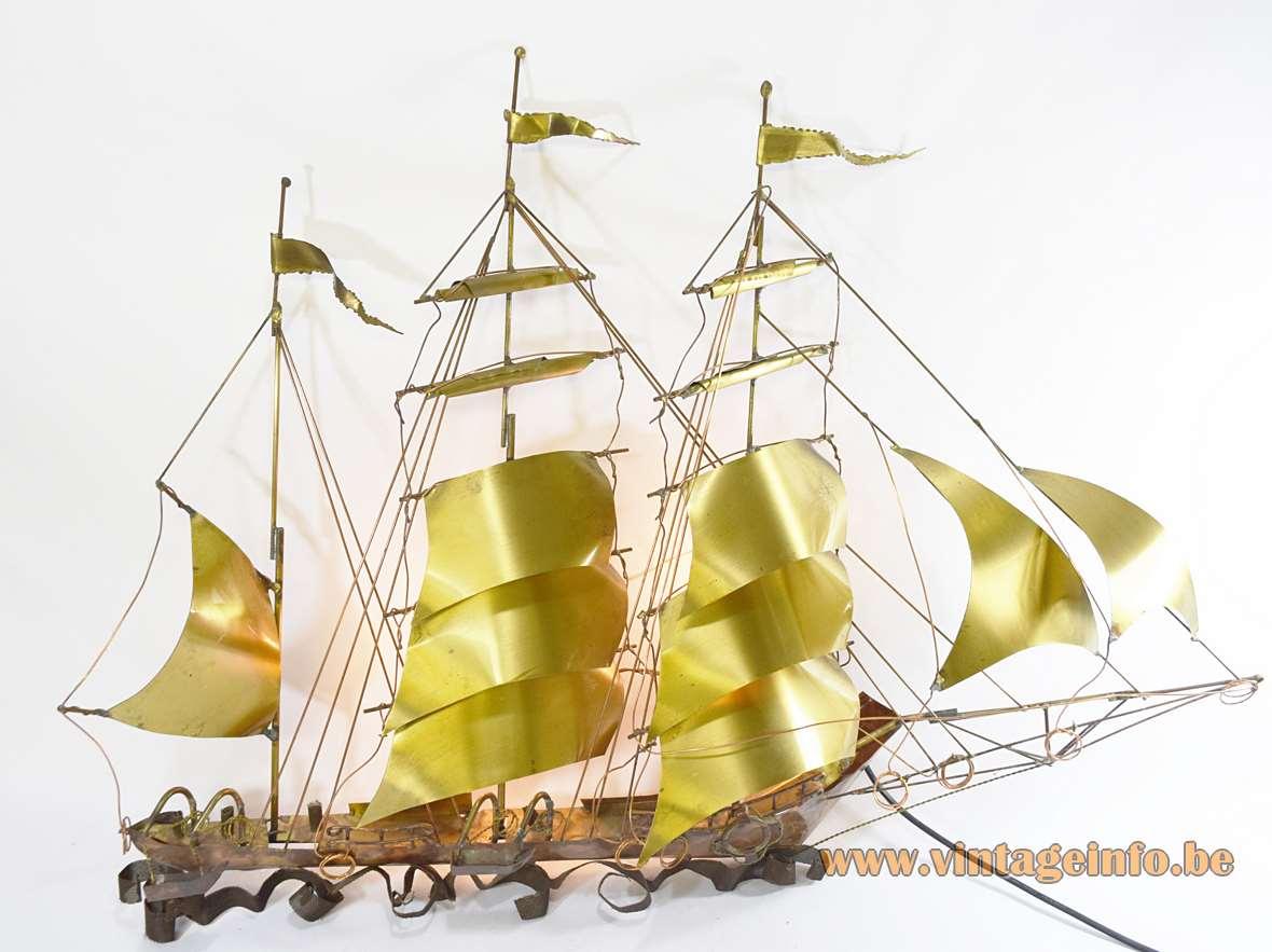 1970s brutalist sailboat wall lamp copper & brass metal ship design: Daniel Dhaeseleer 1980s Belgium