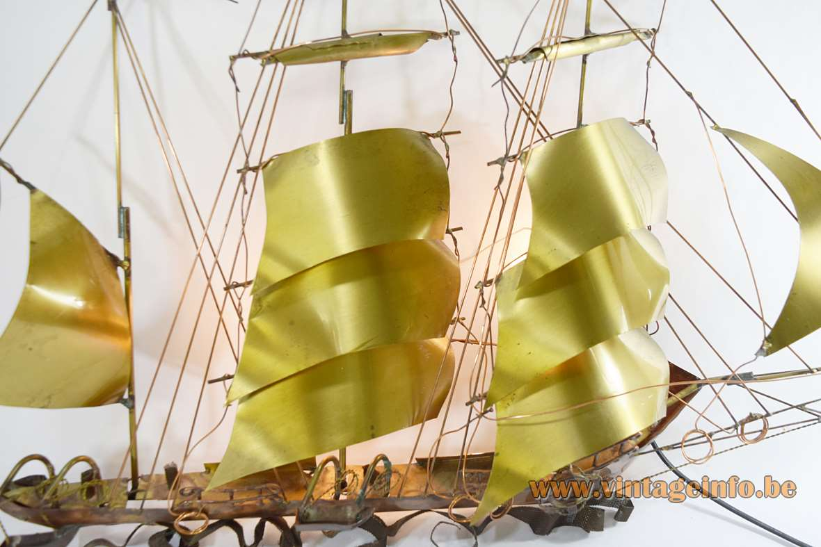 Sailboat wall lamp design: Daniel Dhaeseleer Belgium brass & copper boat 1970s Brutalist Mid-Century Modern MCM 2 E14 sockets
