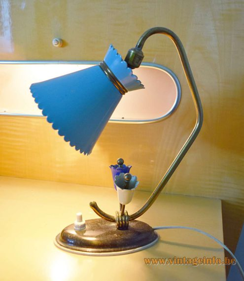 Diabolo Bedside Lamp 1950s 1960s brass light blue lampshade 2 flowers MCM