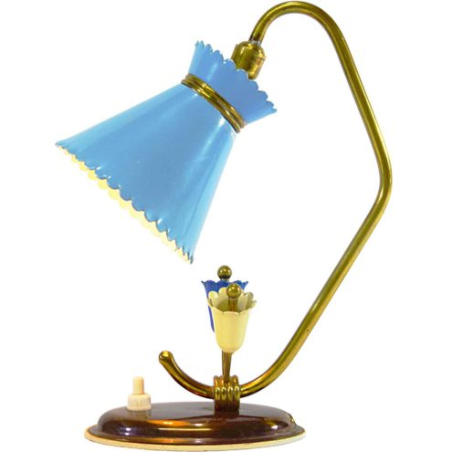 Diabolo Bedside Lamp 1950s 1960s brass light blue lampshade 2 flowers MCM