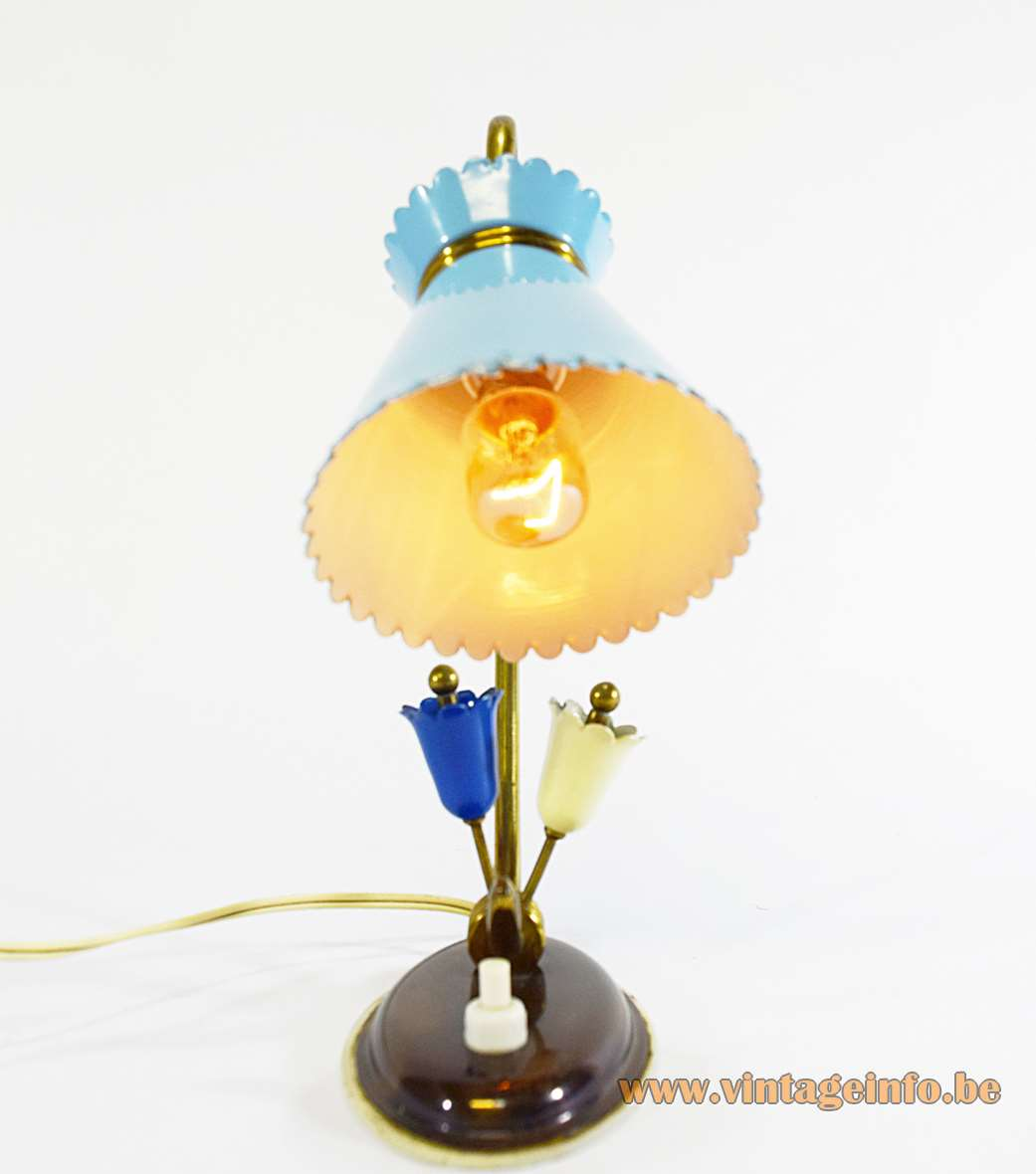 Diabolo bedside table lamp oval flowers base curved folded brass rod blue conical lampshade 1950s 1960s