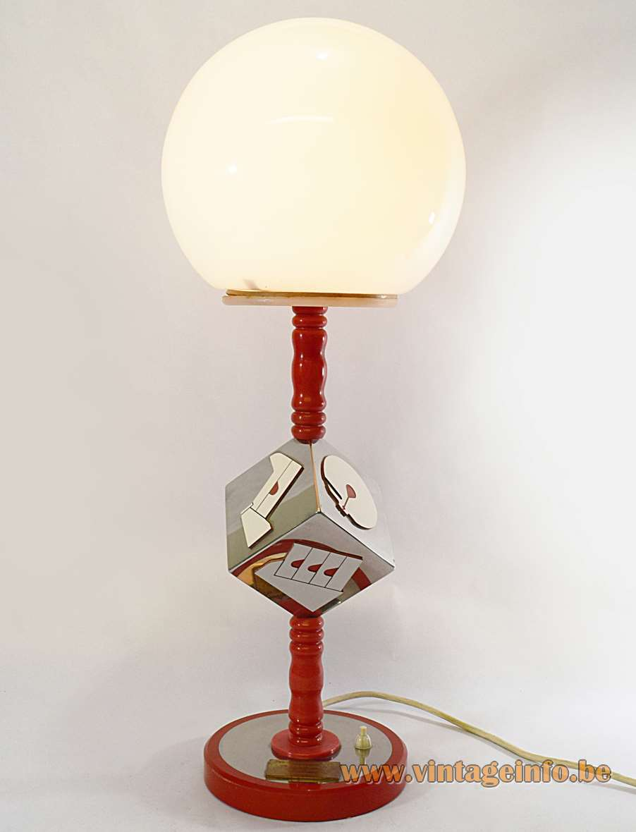 Diamond Cutting Early Retirement Table Lamp nickel-plated chrome cube plastic opal ball wood MCM