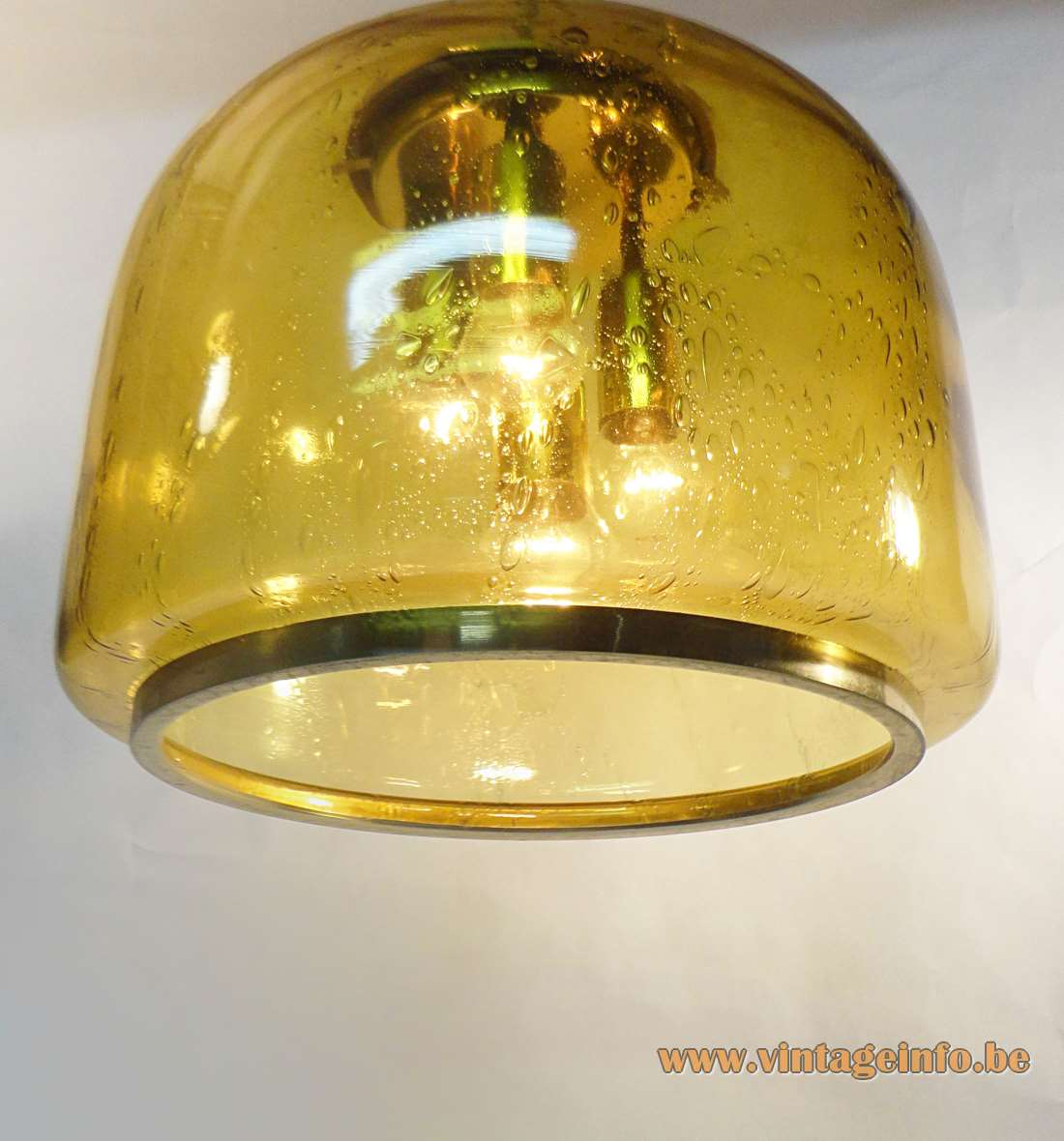 Doria pendant lamp amber yellow bubble glass bell clock form chrome & brass 1970s Germany MCM Mid-Century Modern