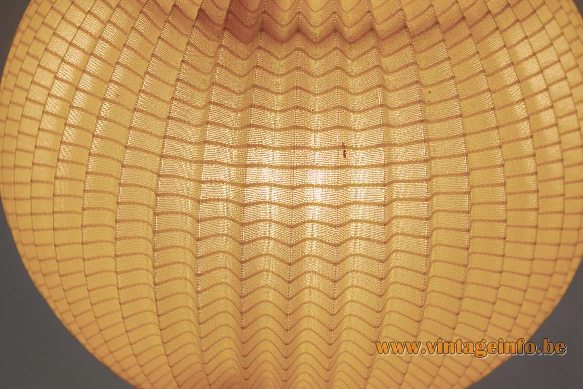 East German table lamp chrome tube flat black base folded fabric globe lampshade Rispal Hoyrup style VEB