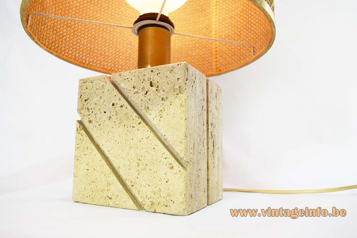 Fratelli Mannelli travertine table lamp rectangular limestone base cane reed wicker round lampshade E27 socket 1960s