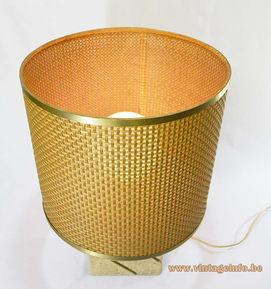 Fratelli Mannelli Travertine Table Lamp limestone base 1970s 1980s Cane Reed wicker round lampshade