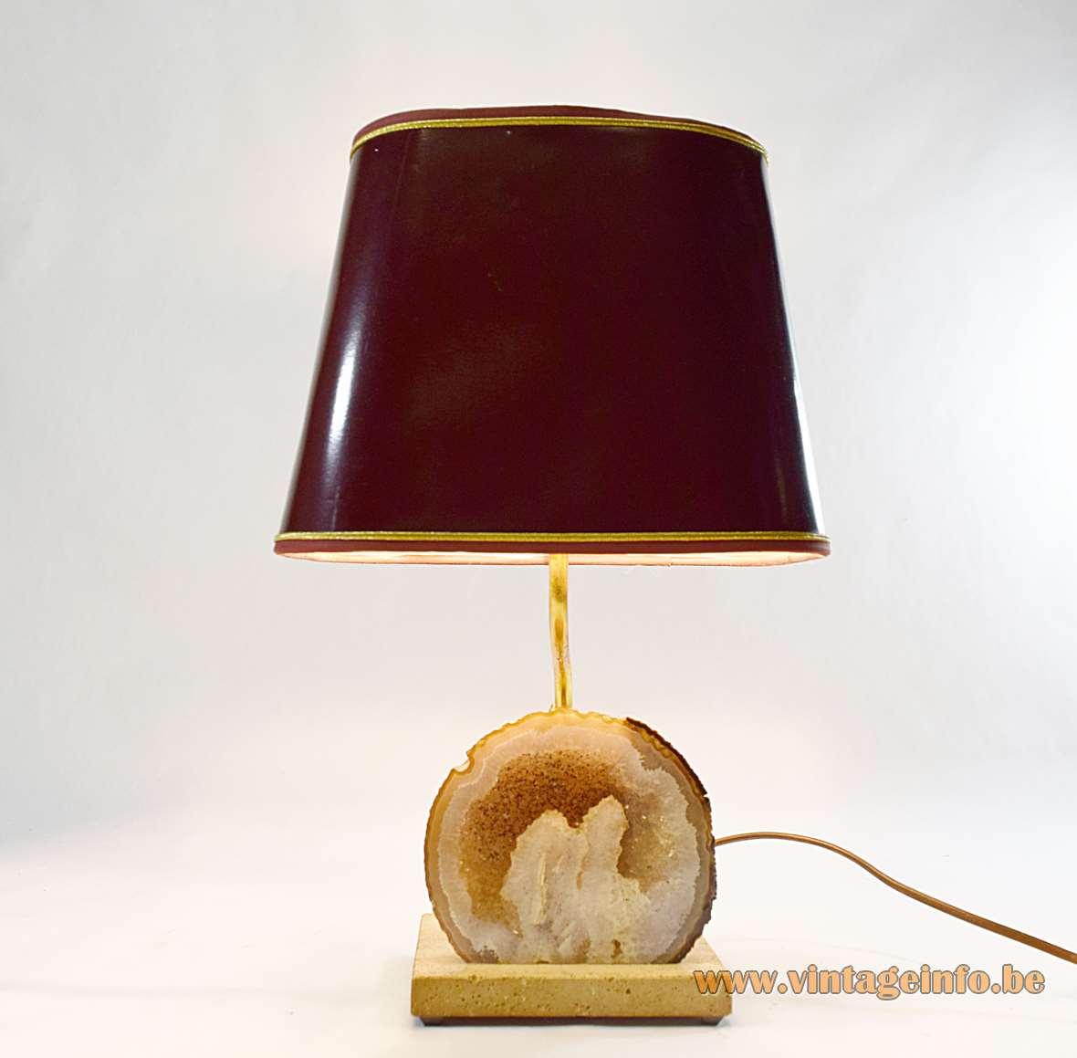 Agate table lamp design: Pierre Faveere geode travertine base brass rod mineral stone 1970s Mid-Century Modern MCM E27 socket