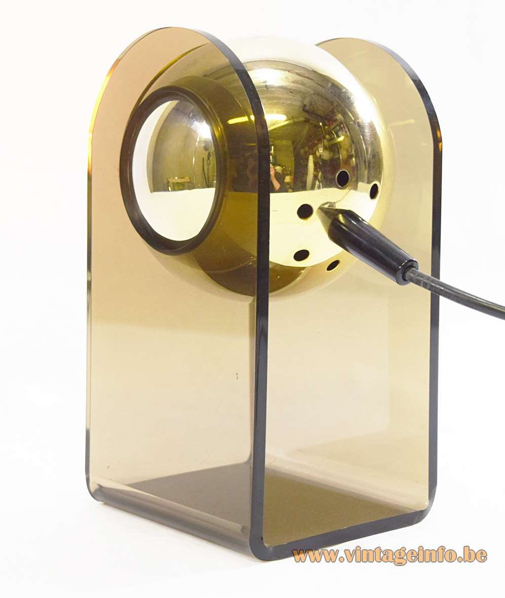 Gino Sarfatti model 540 table lamp smoked acrylic base gold chrome globe made by Insta GmbH Germany