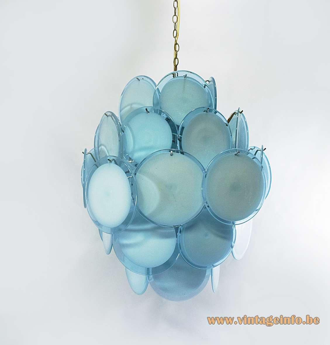 Gino Vistosi blue & pink discs chandelier with 36 dishes chrome frame AV Mazzega Murano 1960s