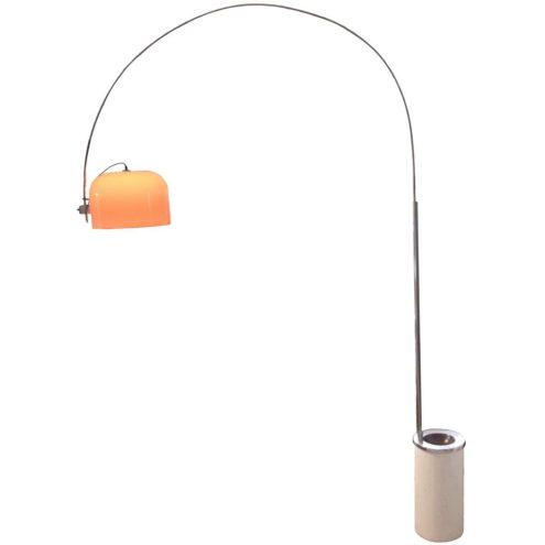 Harvey Guzzini Arc floor lamp aluminium round base ashtray chrome rod acrylic Perspex lampshade 1960s 1970s