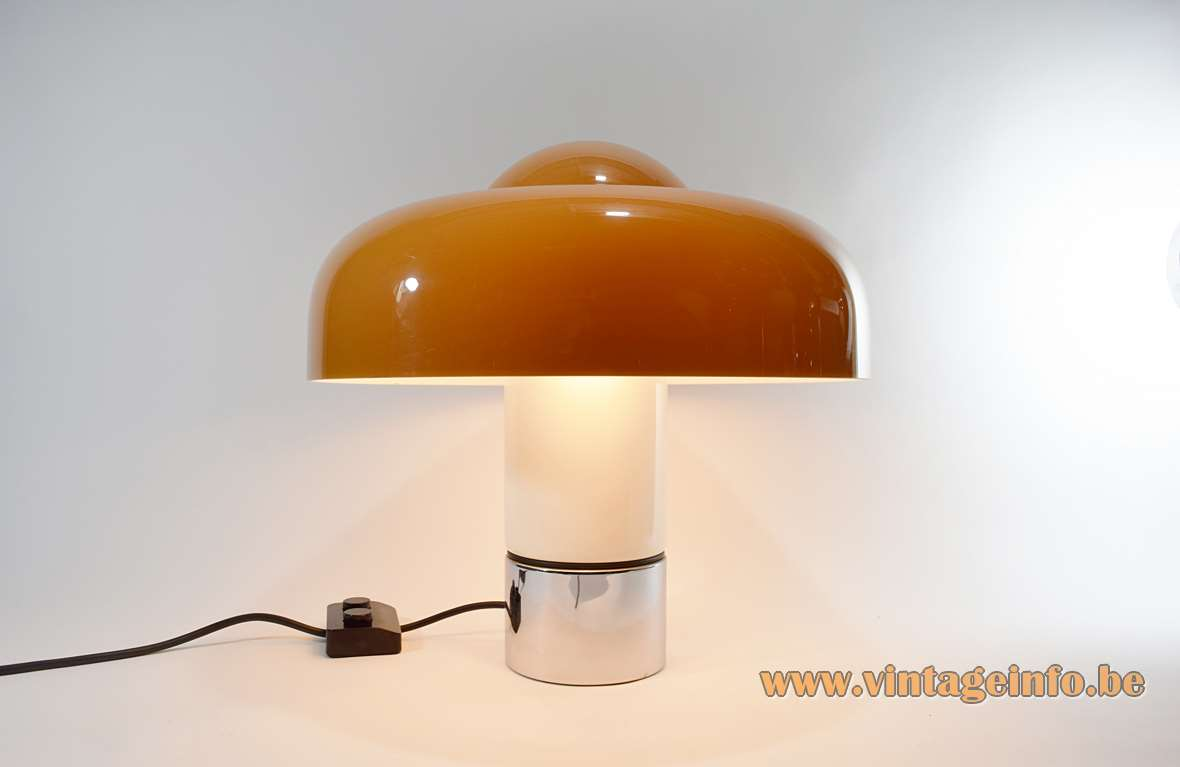 Harvey Guzzini Brumbry Table Lamp brown acrylic mushroom chrome round base Design: Luigi Massoni 1960s 1970s